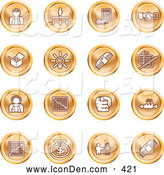 Clip Art of a Collection of Orange Coin Business Icons of Business People, Management, Hand Shake, Lightbulb, Cash, Charts, and Money Bags by AtStockIllustration
