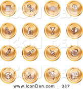 May 24th, 2013: Clip Art of a Collection of Orange Coin Icons of Gifts, Radio, Mask, Alcohol, Kebobs, Disco Ball, Clown, Party Hats, Balloons and Beer by AtStockIllustration