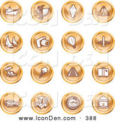 May 27th, 2013: Clip Art of a Collection of Orange Coin Icons of on a White Background by AtStockIllustration