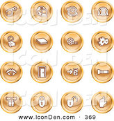 Clip Art of a Collection of Orange Coin Shaped Icons of a Bomb, Computer, Letter, Magnifying Glass, Book, Film, Cogs, Eye, Door, Flashlight, Messenger, Padlocks and Reminder by AtStockIllustration