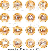 Clip Art of a Collection of Orange Coin Shaped Icons of a Computer, Viewfinder, Wireless, Questions and Answer, Castle, Music, Forward, Back, Www, Mail, Math and Camera by AtStockIllustration