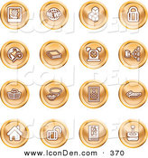 June 7th, 2013: Clip Art of a Collection of Orange Coin Shaped Icons of a Polaroid, News, Cubes, Padlock, Www, Search, Book, Alarm Clock, Connectivity, Messenger, Speaker, Calculator, Home, Blog and Joystick by AtStockIllustration