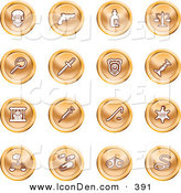 June 4th, 2013: Clip Art of a Collection of Orange Coin Shaped Icons of a Skull, Pistol, Poison, Scales, Magnifying Glass, Knife, Police Badge, Candlestick, Prisoner, Syringe, Sheriff Badge, Pills, Handcuffs and a Noose by AtStockIllustration