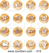 Clip Art of a Collection of Orange Coin Shaped Icons of Apartments, Handshake, Real Estate, House, Money, Classifieds, Brick Laying, Businessman, Hardhat and a Key by AtStockIllustration