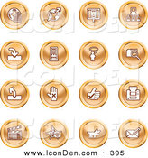 Clip Art of a Collection of Orange Coin Shaped Icons of the Www, Connectivity, Networking, Upload, Downloads, Computers, Messenger, Printing, Clapperboard and Email by AtStockIllustration