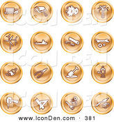 May 11th, 2013: Clip Art of a Collection of Orange Fix It Icons by AtStockIllustration