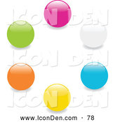 Clip Art of a Collection of Pink, White, Blue, Yellow, Orange and Green Marbles or Toy Balls in a Circle on a White Background by Elaineitalia
