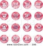 June 13th, 2013: Clip Art of a Collection of Red Coin Shaped Business Icons of Business People, Management, Hand Shake, Lightbulb, Cash, Charts, and Money Bags by AtStockIllustration