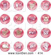 Clip Art of a Collection of Red Coin Shaped Icons of Apartments, Handshake, Real Estate, House, Money, Classifieds, Brick Laying, Businessman, Hardhat and a Key by AtStockIllustration