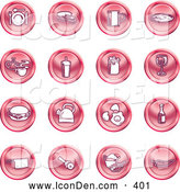 June 22nd, 2013: Clip Art of a Collection of Red Coin Shaped Icons of Food and Kitchen Items on a White Background by AtStockIllustration