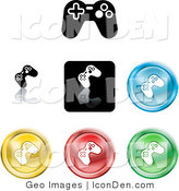 Clip Art of a Collection of Seven Different Colored and Black Video Game Controller Icon Buttons by AtStockIllustration