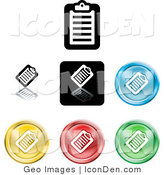 Clip Art of a Collection of Seven Different Colored Clipboard Icon Buttons on White by AtStockIllustration
