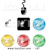 Clip Art of a Collection of Seven Different Colored Computer Mice Icon Buttons by AtStockIllustration
