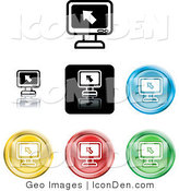 Clip Art of a Collection of Seven Different Colored Computer Screen Icons or Buttons by AtStockIllustration
