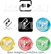 Clip Art of a Collection of Seven Different Colored Connection Icon Buttons by AtStockIllustration