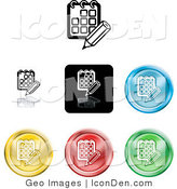 Clip Art of a Collection of Seven Different Colored Day Planner Calendar Icons by AtStockIllustration