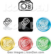 Clip Art of a Collection of Seven Different Colored Digital Camera Icons by AtStockIllustration