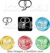 Clip Art of a Collection of Seven Different Colored Exclamation Icon Buttons on White by AtStockIllustration