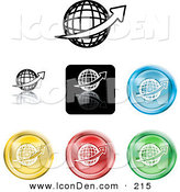 Clip Art of a Collection of Seven Different Colored Globe Icon Buttons on White by AtStockIllustration