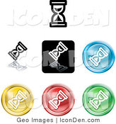 Clip Art of a Collection of Seven Different Colored Hourglass Cursor Icon Buttons by AtStockIllustration