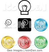 Clip Art of a Collection of Seven Different Colored Light Bulb Icon Buttons on a White Background by AtStockIllustration