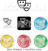 Clip Art of a Collection of Seven Different Colored Mask Icon Buttons by AtStockIllustration