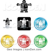 Clip Art of a Collection of Seven Different Colored Robot Icon Buttons on a White Background by AtStockIllustration