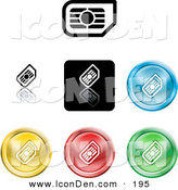 Clip Art of a Collection of Seven Different Colored SIM Card Icon Buttons by AtStockIllustration