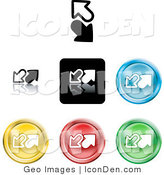 Clip Art of a Collection of Seven Different Colored Upload and Download Icon Buttons on White by AtStockIllustration