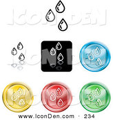 Clip Art of a Collection of Seven Different Colored Water Droplet Icon Buttons by AtStockIllustration