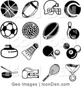 Clip Art of a Collection of Sixteen Black Athletic Icons over a White Background by AtStockIllustration