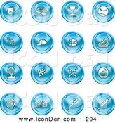 February 4th, 2013: Clip Art of a Collection of Sixteen Blue Fishing, Hockey, Trophy, Baseball, Golfing, Racing, Ice Skating, Skiing, Cricket, and Cycling Sports Icons by AtStockIllustration