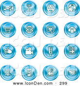 Clip Art of a Collection of Sixteen Blue Icons of a Communications Tower, Www, Home Page, Shopping Cart, Messenger, Printer, Camera, Street Light, Lightbulb, Hourglass and Search by AtStockIllustration