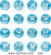 Clip Art of a Collection of Sixteen Blue Icons of a Computer, Viewfinder, Wireless, Questions and Answer, Castle, Music, Forward, Back, Www, Mail, Math and Camera by AtStockIllustration