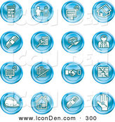 Clip Art of a Collection of Sixteen Blue Icons of Apartments, Handshake, Real Estate, House, Money, Classifieds, Brick Laying, Businessman, Hardhat and a Key by AtStockIllustration