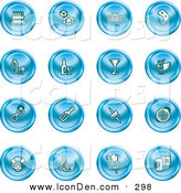 Clip Art of a Collection of Sixteen Blue Icons of Gifts, Radio, Mask, Alcohol, Kebobs, Disco Ball, Clown, Party Hats, Balloons and Beer by AtStockIllustration