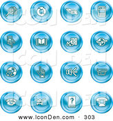 Clip Art of a Collection of Sixteen Blue Icons of Security Symbols on White by AtStockIllustration