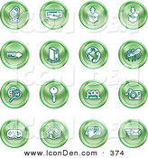 Clip Art of a Collection of Sixteen Green Entertainment Icons of a Microphone, Disc, Upload, Download, Credit Card, Computer, Telephone, Spider, Searching, Key, Faq, Record Player, Controller, Home, Typing and Email by AtStockIllustration