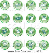 Clip Art of a Collection of Sixteen Green Icons of a Door, Tape Dispenser, Tack, Pencil, Phone, Champion, Lightbulb, Money Bag, Piggy Bank, Cell Phone, Trophy, Lips, Chart, and Plant by AtStockIllustration