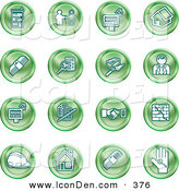 Clip Art of a Collection of Sixteen Green Icons of Apartments, Handshake, Real Estate, House, Money, Classifieds, Brick Laying, Businessman, Hardhat and a Key by AtStockIllustration