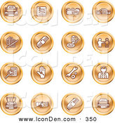 April 19th, 2013: Clip Art of a Collection of Sixteen Orange Icons of Cars, a Log, Cash, Lemon, Dealer, Ads, Key, Wrench, Engine, Handshake and Money by AtStockIllustration