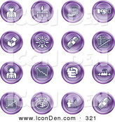 Clip Art of a Collection of Sixteen Purple Business Icons of Business People, Management, Hand Shake, Lightbulb, Cash, Charts, and Money Bags by AtStockIllustration