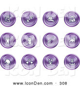 Clip Art of a Collection of Sixteen Purple Strength Icons of a Weightlifter, Man Carrying a Globe, Fist, Muscles, Weights, Helmet, Elephant, Anchor, Links and Bull on a White Background by AtStockIllustration