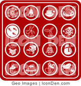 Clip Art of a Collection of Sixteen Red Christmas Icons Including a Snowflake, Bell, Santa, Turkey Dinner, Footprints in Snow, Holly, Mistletoe, Elf, Chimney, Presents, Christmas Tree, Snowman, Candle, Dessert, Stocking and Santa Hat by AtStockIllustration