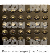 Clip Art of a Collection of Thirty Beige Media Utton Icons on a Gold Background by Rasmussen Images