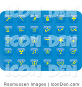 Clip Art of a Collection of Thirty Miscellaneous Yellow Button Icons on a Blue Background by Rasmussen Images