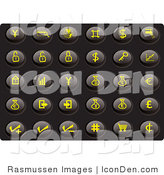 Clip Art of a Collection of Thirty Yellow Finance Icons on a Black Background by Rasmussen Images