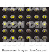 Clip Art of a Collection of Thirty Yellow Media Icons on a Solid Black Background by Rasmussen Images