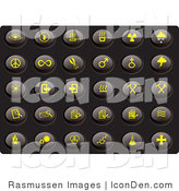 Clip Art of a Collection of Thirty Yellow Misc Icons on a Black Background by Rasmussen Images