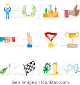 Clip Art of a Collection of Twelve Colorful Competition Icons by AtStockIllustration